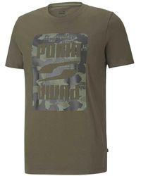 PUMA Rebel Camo Graphic Short Sleeve T-shirt - Green