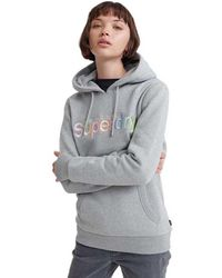 Superdry Classic Rainbow Embroidered Hoodie - Gray