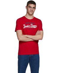 Jack & Jones Logo O-neck 2 Colors Short Sleeve T-shirt - Red
