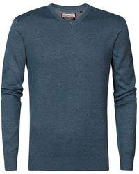 Petrol Industries V Neck Sweater - Blue