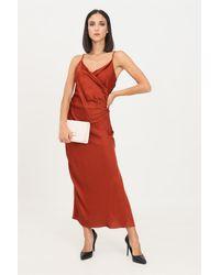 ViCOLO Abito donna mattone lungo con spacco laterale - Rouge