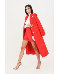 Patrizia Pepe 8s0384/a9f8 cappotto stile militare con bottoni a contrasto - Rosso