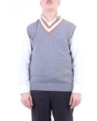 Eleventy Gilet in maglia di colore grigio e cammello - Blu