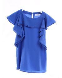 Pinko Blouse de couleur e à volants et manches courtes - Bleu