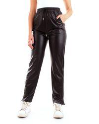 Patrizia Pepe 2l0878/a7r9 pantalone jogging in eco pelle con spacchi a fondo gamba e bottoni - Nero