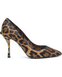 Dolce & Gabbana Leopard-Print Pony Hair Pumps - Marron