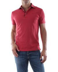 AT.P.CO Polo realizzata in morbido piquet di cotone con leggero trattamento old, slim fit - Rosso