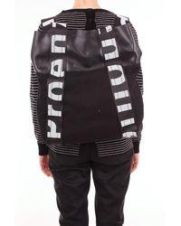 Proenza Schouler Sac à dos en cuir et telacon avec logo écrit bicolore - Noir