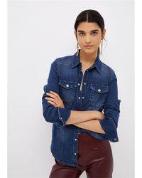 Liu Jo Camicia slim fit in denim stretchlavaggio stone wash blutasche con pattabottoni gioiello 98%co 2%ea - Bleu