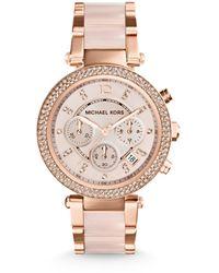 Michael Kors Orologio Cronografo Quarzo Donna con Cinturino in Acciaio Inossidabile MK5896 - Rosa