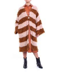 Jucca Vestido longuette en color beige y marrón - Multicolor