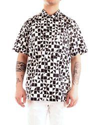 Patrizia Pepe 5c0305/a4k0 camicia over-size a manica corta con stampa all over - Nero