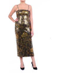 Versace Jeans Couture Abito longuette nero fantasia con paillette - Multicolore
