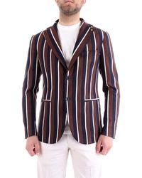 Roberto Pepe Pj5pmr giacca a righe slim fit in viscosa - Blu