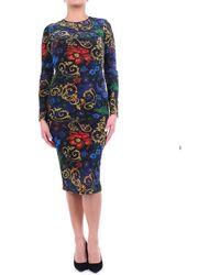 Versace Jeans Couture Abito lungo fantasia con chiusura posteriore zip - Multicolore