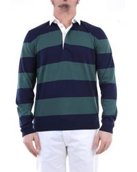 Heritage Polo de manga larga en verde oscuro y azul