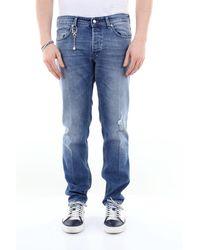 C+ Plus Jeans 5 tasche in cotone stretch - Blu