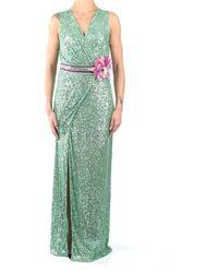 Hanita H.v2507.2679 abito lungo smanicato in paillettes verde menta