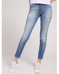 Guess Jeans vita alta con bottoni a vista 99%co 1%ea - Bleu