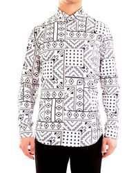 Patrizia Pepe 5c055b/a8e9 camicia con stampa bandana in jersey elasticizzato - Bianco