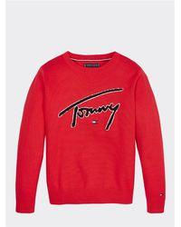 Tommy Hilfiger Maglia girocollo in morbido cotone con ricamo evidenza, 100% - Rosso