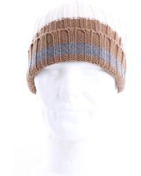 Eleventy Cappello beanie color panna a costine - Multicolore