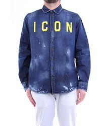 DSquared² Chemise en jean avec logo détruit et imprimé - Bleu