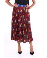 Stella Jean Jupe longue bordeaux à motifs - Rouge