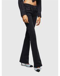 DIESEL Jeans con vestibilità bootcut, vita bassa, in denim stretch, zip-fly - Nero
