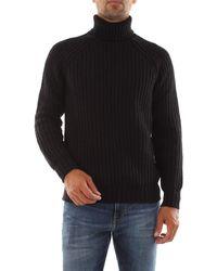Bomboogie Maglione dolcevita tricot a coste. realizzato in maglia mélange misto cotone - Noir