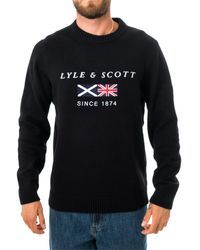 Lyle & Scott Felpa flag knitted embroidered kn1343v.572 - Schwarz