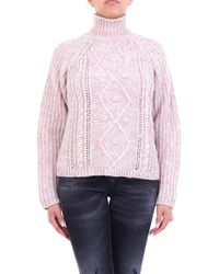 Forte Forte Suéter de cuello alto rosa estampado con mangas largas