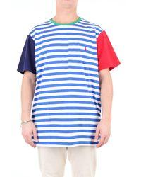 Polo Ralph Lauren Camiseta colour block en azul/blanco con bolsillo y logo de jugador