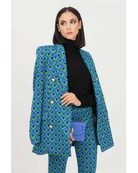 ViCOLO Giacca donna blu verde con trama geometrica allover - Bleu