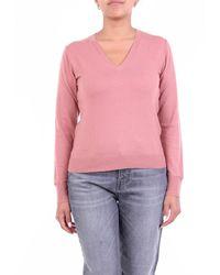 Seventy Maglia con scollo a v di color - Rosa