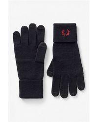 Fred Perry C7152 guanti doppia riga in lana merino - Negro