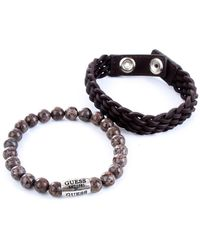 Guess Jums80047 set di bracciali in corda e microsfere - Marrone