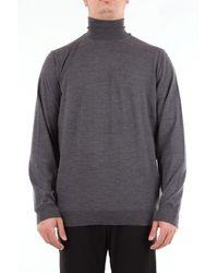 Drumohr Cuello de tortuga color liso en lana peinada - Gris