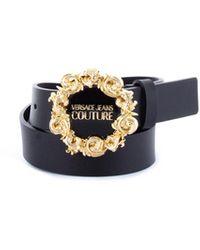 Versace Jeans Couture 71va6f30-71627 cintura in pelle con fibbia logata - Schwarz