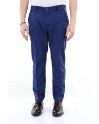 26.7 Twentysixseven Pantalon de couleur unie avec revers - Bleu