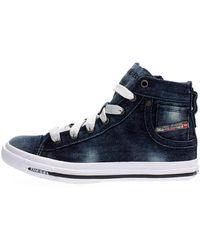 DIESEL Sneaker mid in denim con lacci e zip laterale, l'iconica quinta tasca sul tallone - Blau