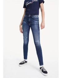 Tommy Hilfiger Jeans a vita alta, con iconica vestibilità anni 80, tapared ft, in lunghezza cropped, 100% cotone - Bleu