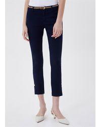Liu Jo Pantalone chino con cintino bottom up raso stretch 96%co 4%ea - Bleu