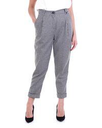 Love Moschino Pantalone chino bianco e nero con trama in pied de poule - Multicolore