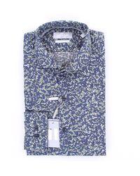 Michael Kors Chemise imprimée en coton slim fit - Bleu