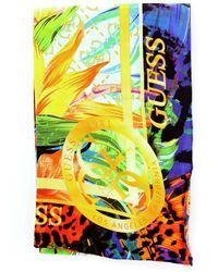 Guess Aw8419vis03 foulard stampa animalier fantasy con fascia logata a contrasto - Jaune