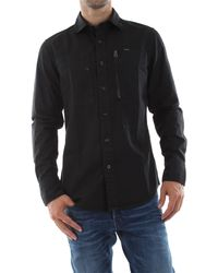 G-Star RAW Camicia in twill di cotone caratterizzata dalle tasche anteriori, chiusura con bottoni, 100% - Noir