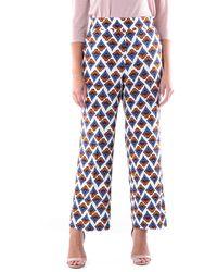 Via Masini 80 Pantalon à motif classique - Bleu