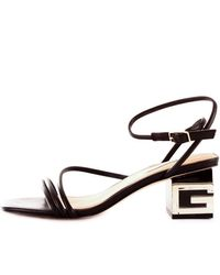 Guess Macre fl6maclea03 sandalo intrecciato con punta quadrata e tacco g - Nero