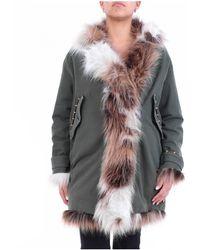 Bazar Deluxe Abrigo largo verde con capucha y pelo interior exterior - Gris